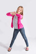 Pre-teen dancing and smiling
