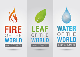 Element of the world, Fire leaf water icon symbol sign. Creative