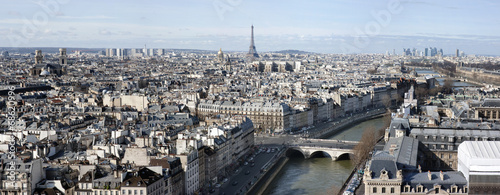 Panoramic aerial view of Paris with Eiffel tower
