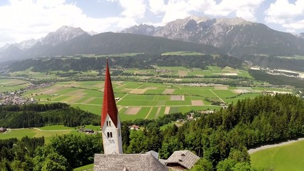 St. Peter Church with View over the Inntal - Aerial Flight