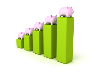 piggy money bank bar chart finance concept