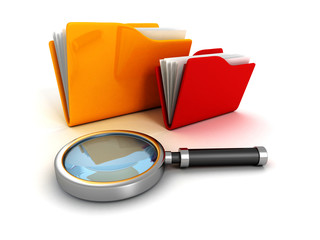 office document paper folders and magnifying glass