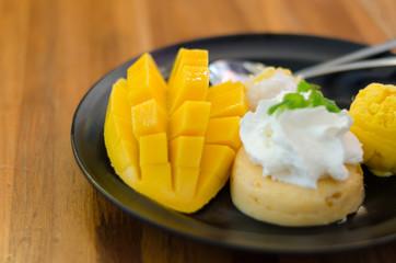 Mango, mango pudding, mango ice cream with sticky rice