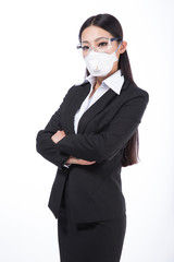 woman wearing a protective mask with