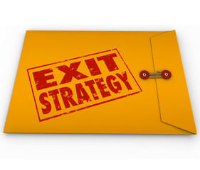 Exit Strategy Words Stamped Yellow Envelope Plan