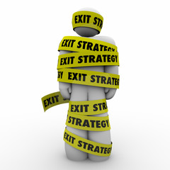 Exit Strategy Man Person Wrapped Caught Yellow Tape Escape Plan