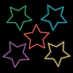 abstract colorful star on black background