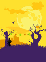 halloween tree and lantern background portrait