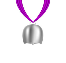 Bell hanging on purple piece of cloth
