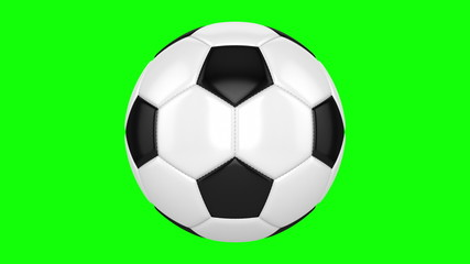 Soccer ball rotates on its axis. Seamless looped animation