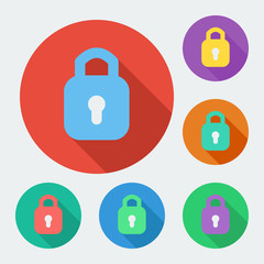 Flat style icon with long shadow, six colors, padlock.