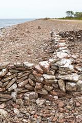 Beach stone wall