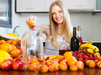 girl making fruits beverages with wine