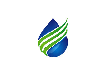 Green leaf with splashing water drops logo