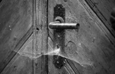 alte Tür in schwarzweiß