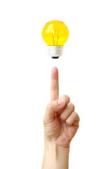 fingertip hand point bulb light isolate on over white background