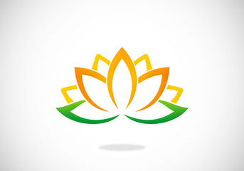 spa lotus flower vector logo