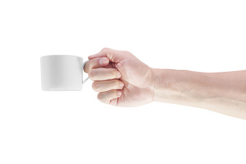 Hand with a coffee cup isolated in white background