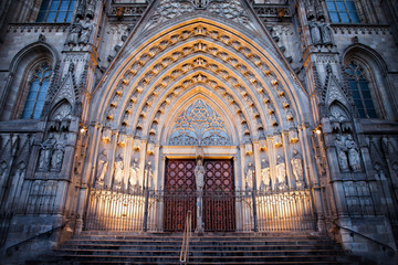 Entrance to the Barcelona Cathedral at Night