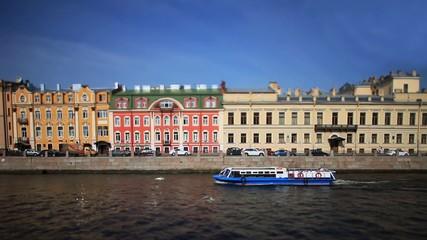 travel on Moika river of St. Petersburg Film Tilt