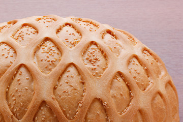 Wheat bread with sesame and pattern