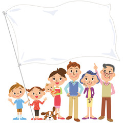 旗を持つ家族集合