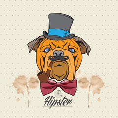 Illustration of a bulldog head with hat and bow tie