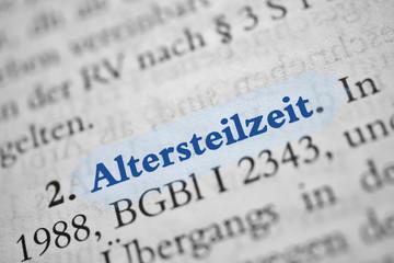 Altersteilzeit - blaue Schrift - hellblau markiert