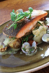 salmon fillet plated meal