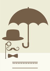 retro poster of gentleman under umbrella