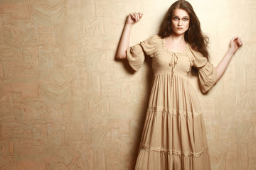 Fashion woman in vintage dress Retro clothes style