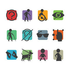 Vector colorful icon set of access signs