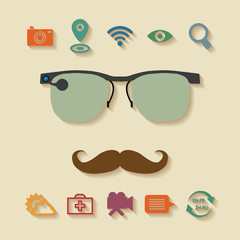 Vector concept of virtual mobile pc glasses functions