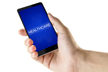 healthcare word on digital smart phone