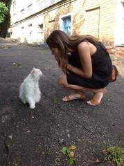 девушка и белый кот
