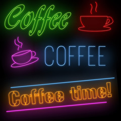Set of coffee neon signs