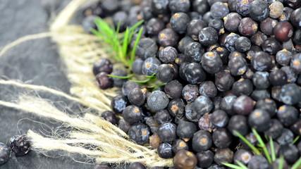Portion of dried Juniper Berries (loopable full HD video)