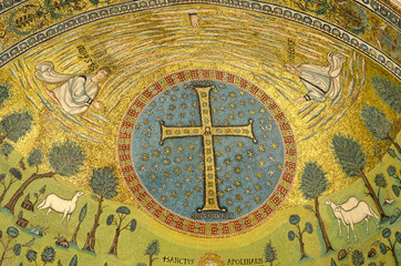 Cross mosaic details, Sant'Apollinare in classe basilica
