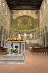Sant'Apollinare in Classe tambour mosaic view, Ravenna