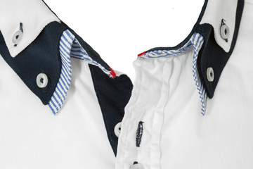 White shirt collar open close up