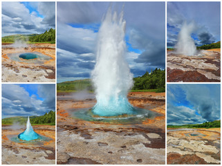 Collage showing the action of the geyser