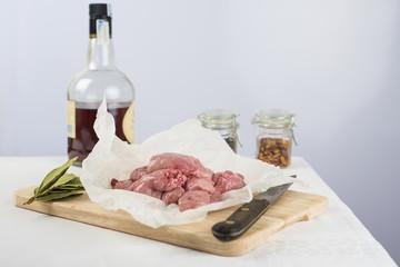 Carne de mollejas de cordero con brandy y especias para cocinar