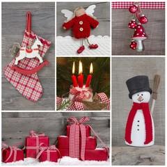 Dekoration Weihnachten: klassisch in Rot und Weiß mit Holz