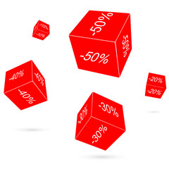 Red playing cubes. raster