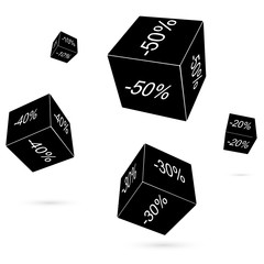 Black playing cubes. Raster