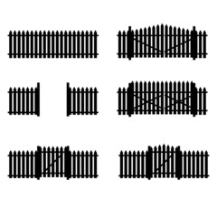 Black fence and gate on a white background. Raster