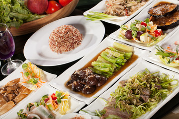 diet food set, round table full with vegetarian food with rice