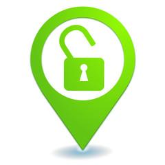 cadenas sécurité sur symbole localisation vert