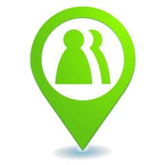 contacts sur symbole localisation vert
