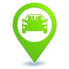 covoiturage sur symbole localisation vert